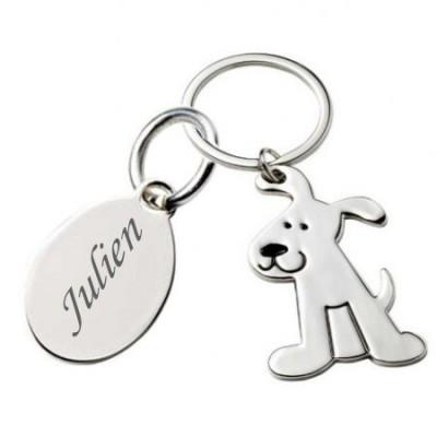 """Porte clé """"doggy"""" gravé avec un texte"""