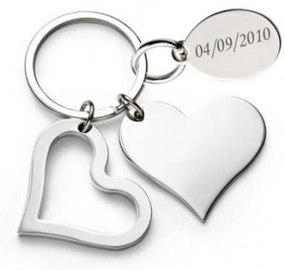 Porte clé coeur gravé avec un texte