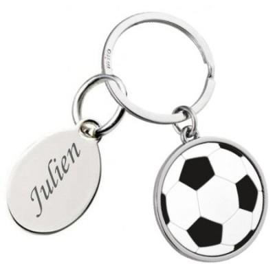 Porte clés ballon de football gravé avec un texte