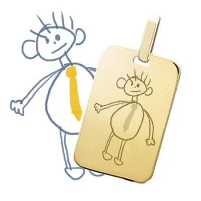 Pendentif rectangle moyen plaqué or avec gravure d'un dessin d'enfant