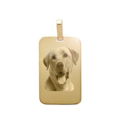 Petit pendentif gravé avec une photo sur un rectangle plaqué or.