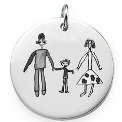 Médaille ronde argent gravée avec un dessin