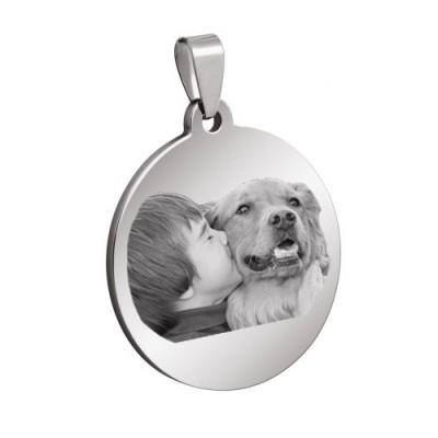 Personnalisez votre médaille ronde gravée avec une photo en acier inoxydable