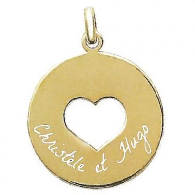 Bijou personnalisé avec un texte médaillon rond coeur plaqué or.