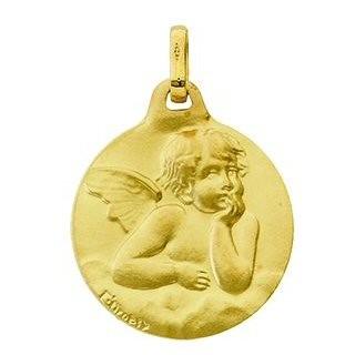 Médaille ronde avec un ange en or satiné 9 carats