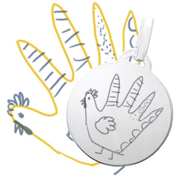 Gravure de la photo d'un dessin enfant sur un médaillon rond moyen en argent