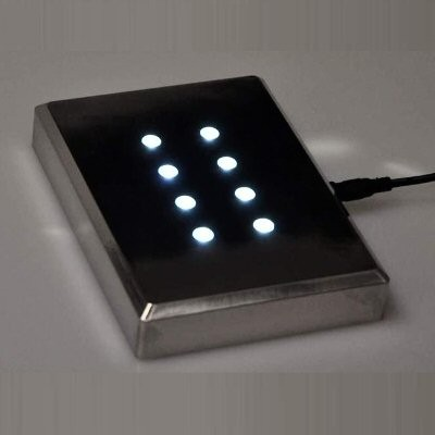 Grand socle lumineux pour bloc gravé au laser