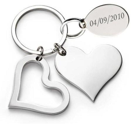 Porte cl de prestige coeur grav avec un texte livr dans sa boite cadeau - Porte capitonnee prix ...