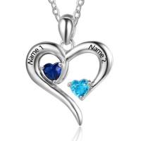 Médaille coeur argent pierres naissance