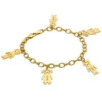 Bracelet prénom avec pendentif enfant en plaqué or