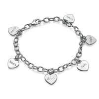 Bracelet charms prénom avec pendentif coeur en argent