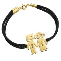Bracelet enfant main dans la main en plaqué or gravé prénom avec cordon imitation cuir