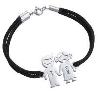 Bracelet enfant main dans la main gravé prénom avec cordon imitation cuir