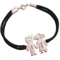 Bracelet enfant main dans la main en plaqué or rose gravé prénom avec cordon imitation cuir