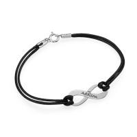 Bracelet infini gravé prénom avec cordon imitation cuir
