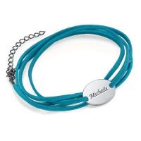 bracelet en daim avec disque à graver