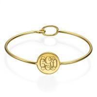 Bracelet monogramme rond en plaqué or
