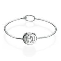 Bracelet monogramme rond en argent