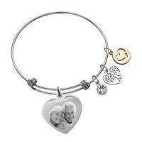 Bracelet jonc avec charms et pendentif coeur argenté gravé