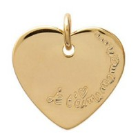Médaillon cœur plaqué or. Je t'aime Maman