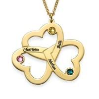 Médaille gravée trois cœurs prénom plaqué or