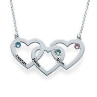 Collier trois cœurs entremêlés avec gravure prénom et pierre de naissances en argent