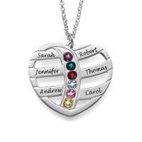Médaille gravée cœur prénoms et pierre de naissances argent