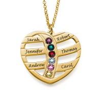 Médaille gravée cœur prénoms et pierre de naissances plaqué or
