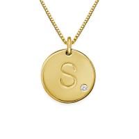 Collier initial avec pendentif gravé en plaqué or et un diamant