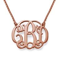 Collier initiale arabesque personnalisé en plaqué or rose