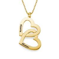 Collier deux cœurs entremêlés avec gravure prénom en plaqué or