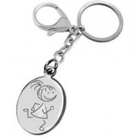 Porte clefs gravé avec un dessin fillette qui court