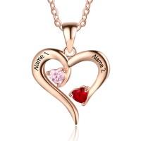 Médaille gravée coeur en argent plaqué or rose avec des pierres de naissance