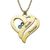 Médaille gravée cœurs doubles prénom plaqué or