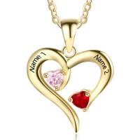 MMédaille gravée coeur en argent plaqué or avec pierre de naissance