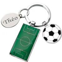 Gravure d'un texte sur un porte clefs football