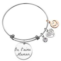 Bijou jonc en bracelet avec son pendentif rond argenté gravé avec un texte.