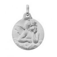 Médaille ronde avec un ange en or gris 9 carats