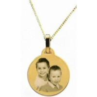 Gravure photo sur un médaillon rond en plaqué or avec la Chaîne.