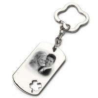 Porte clefs plaque tréfle photo gravée avec une photo