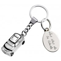 Gravure d'un texte sur un porte clefs voiture