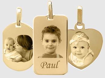 pendentif photo gravé plaqué or