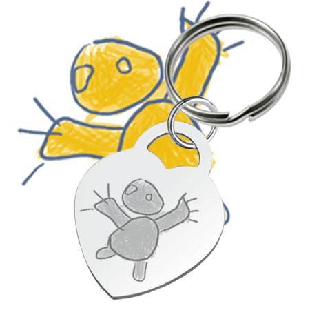 Gravure de dessin d'enfant sur porte-clés métallique en cœur