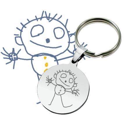 Gravure de dessin d'enfant sur porte-clés métallique rond